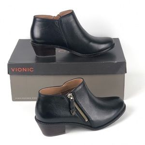 Vionic Jolene Black Leather Orthotic Bootie 6